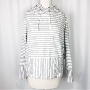 J Crew Gray and White Striped Hoodie